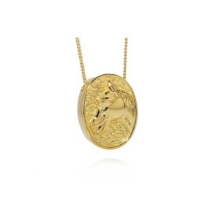 Gold oval horse pendant