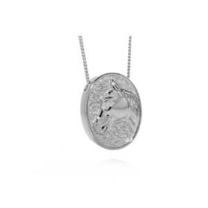 Silver Oval Horse Pendant